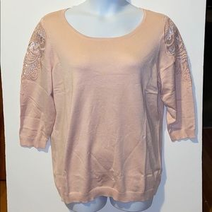 Lane Bryant-Lace Shoulder Sweater-Blush-18/20
